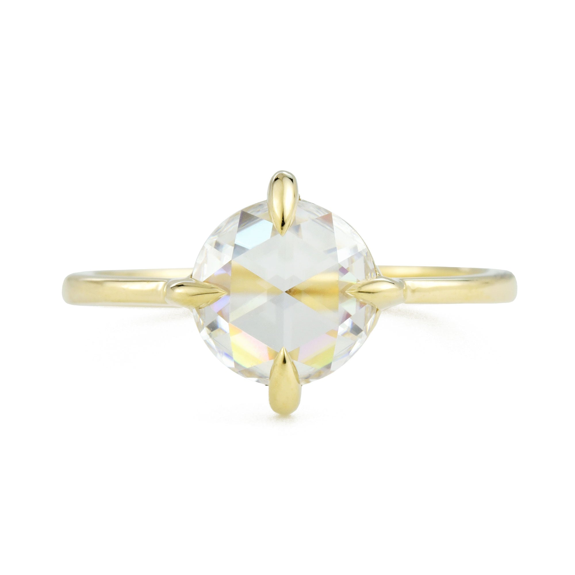 Eva Rose Cut Moissanite Engagement Ring in yellow gold