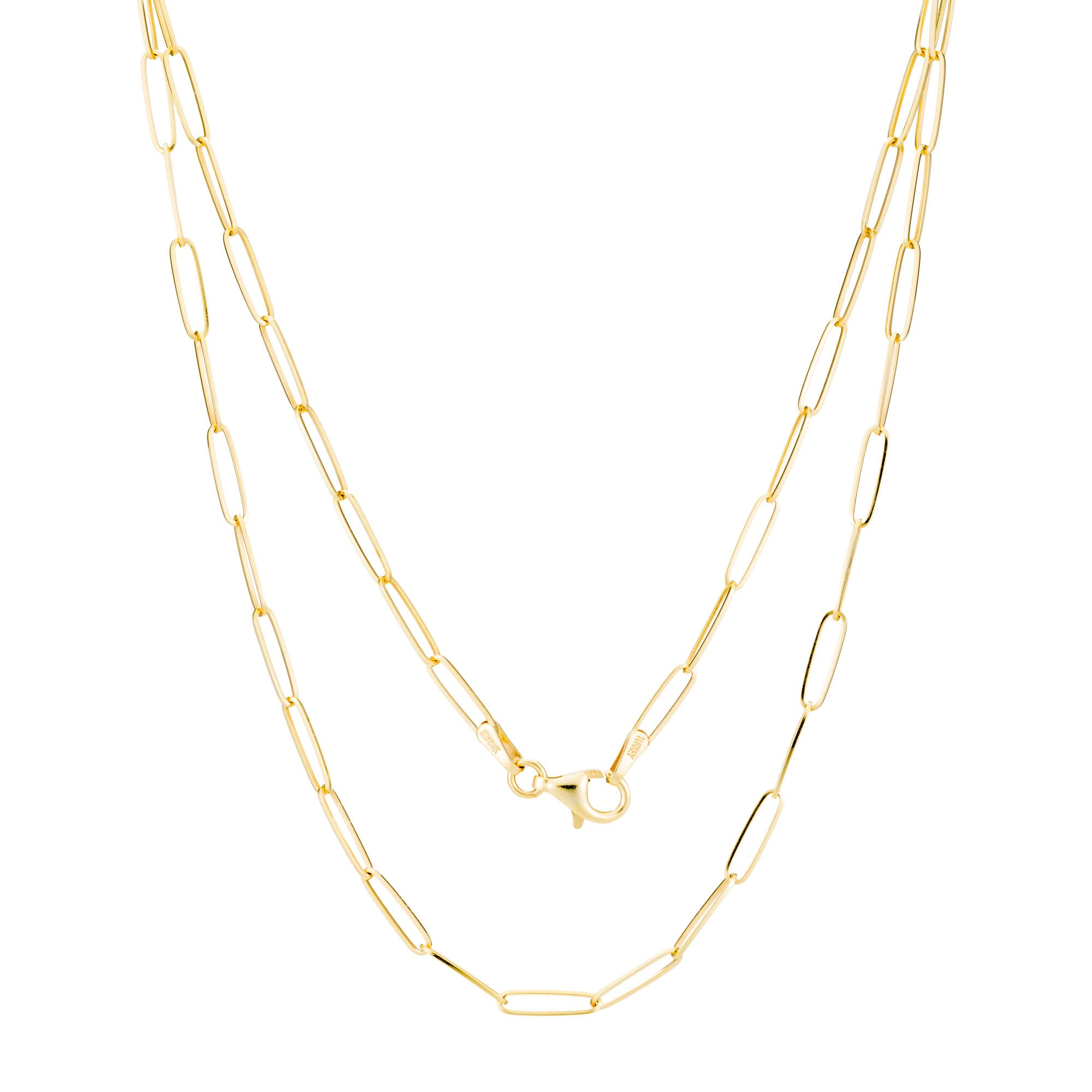 Product shot of 14K Gold Flat Chain Necklace showing the clasp in yellow gold