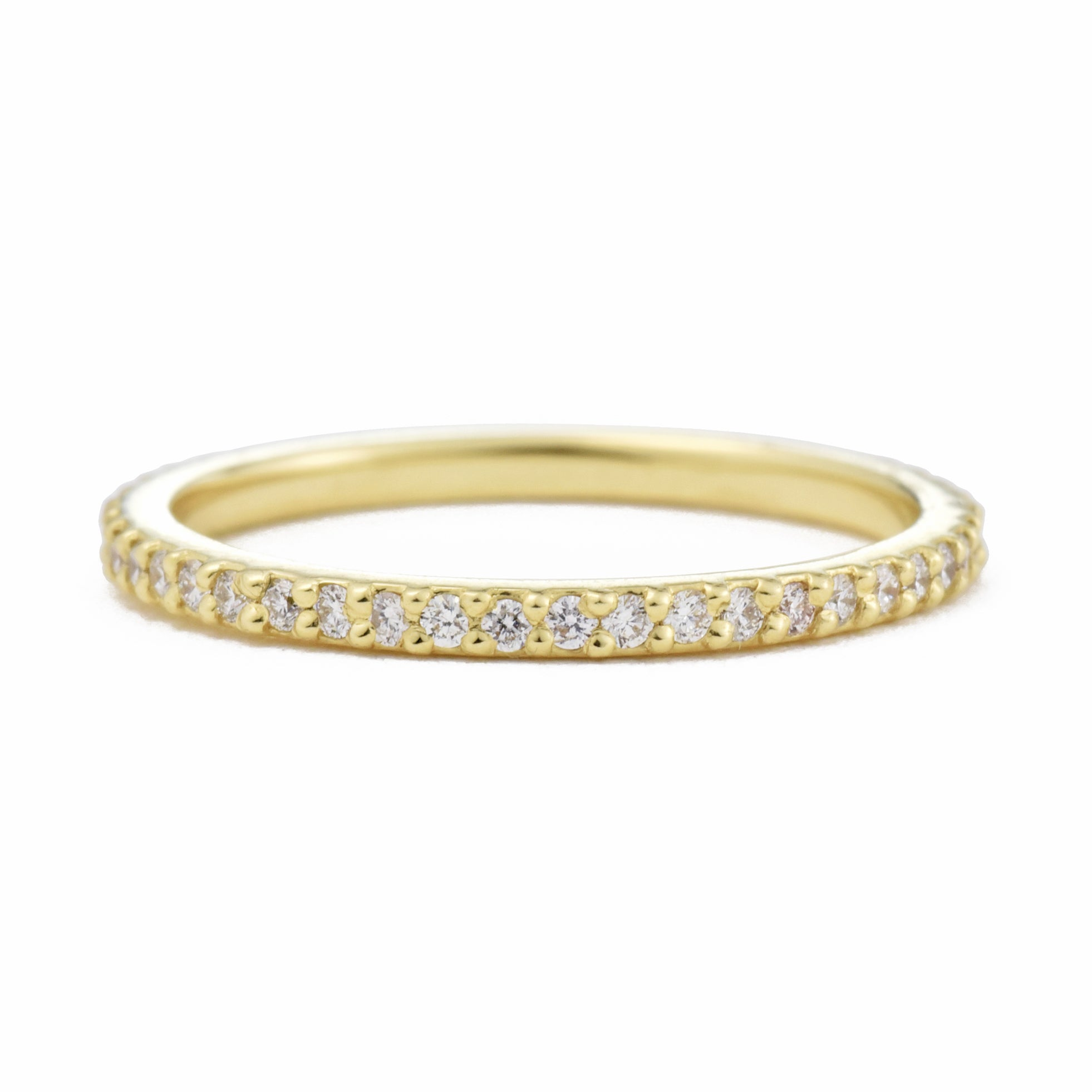 Dainty Mia Full Eternity Diamond Wedding Band in yellow gold