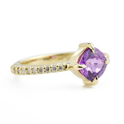 Eva Purple Sapphire & Diamond Pavé Engagement Ring from an angle