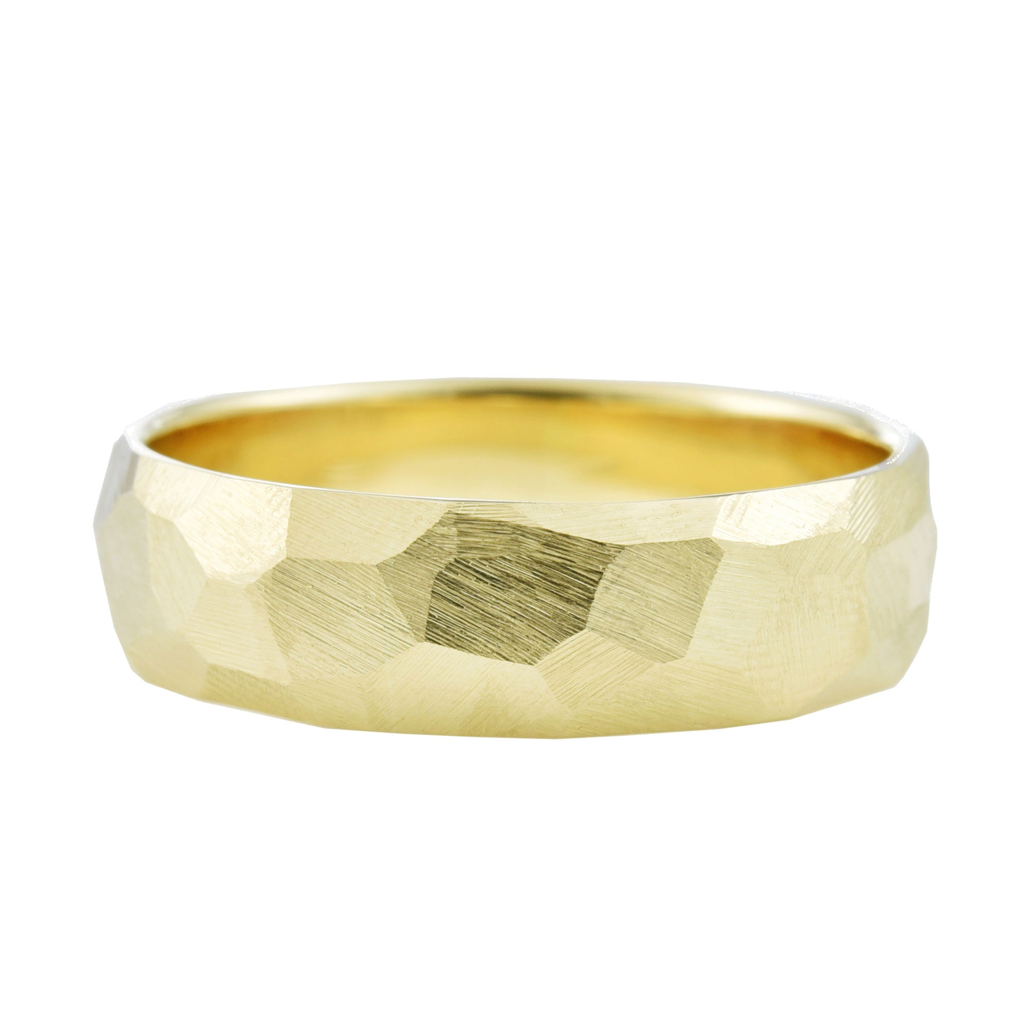 Men's 6mm Geo Wedding Band in yellow gold
