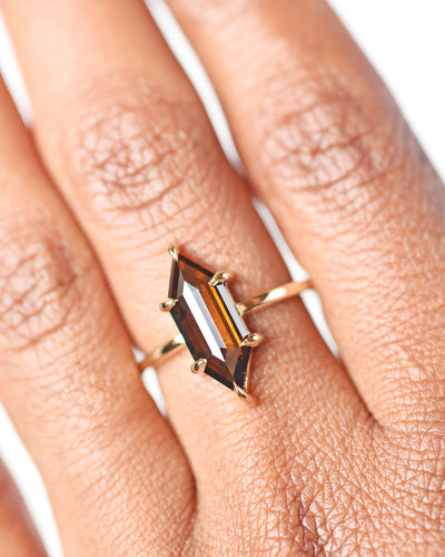Cognac Hexagon Diamond Engagement Ring