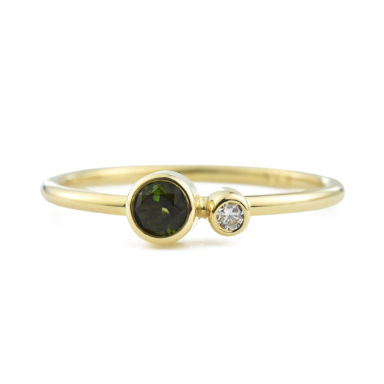 Green Tourmaline Diamond Kiss Ring - October Birthstone