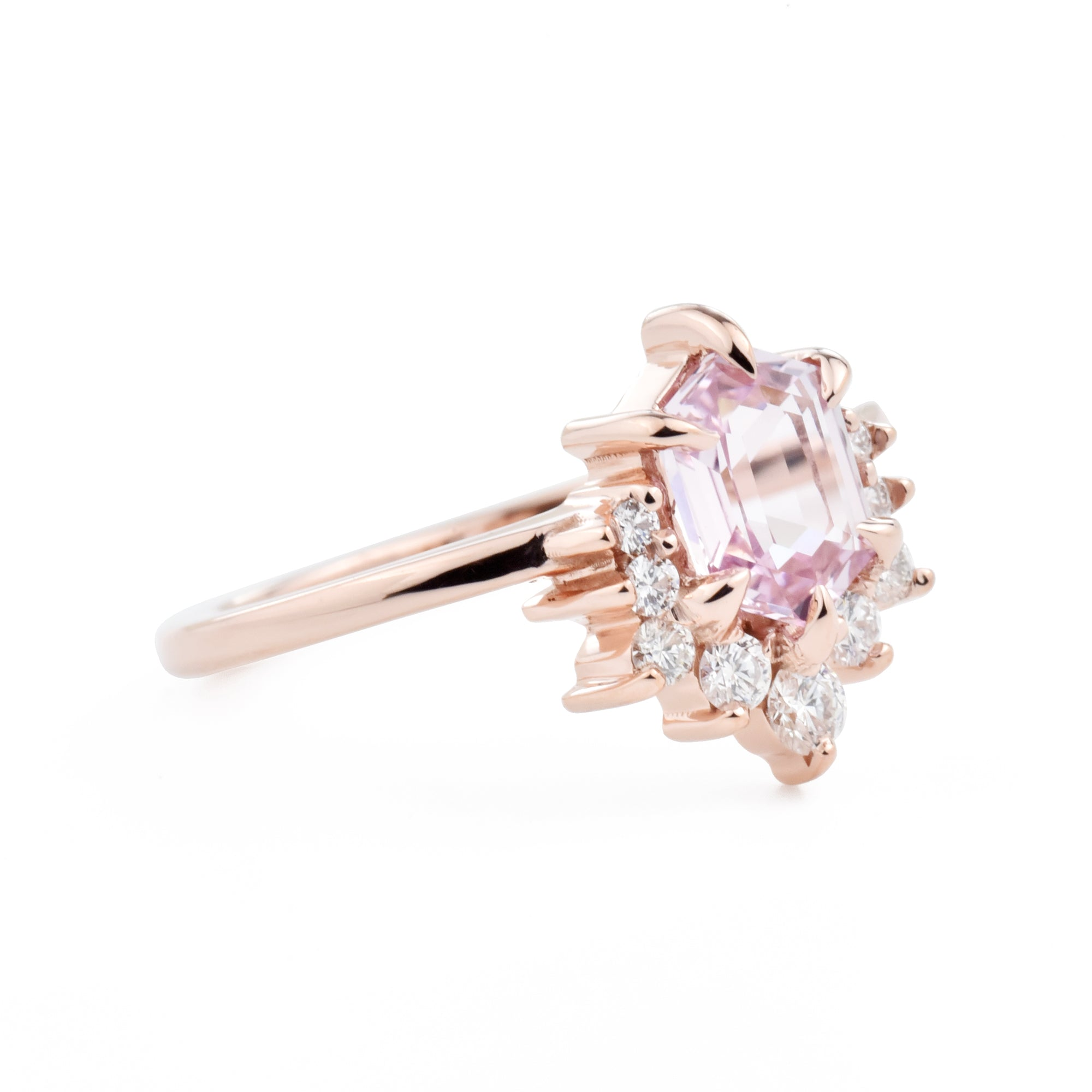 Luna Hexagon Pink Sapphire & Diamond Engagement Ring