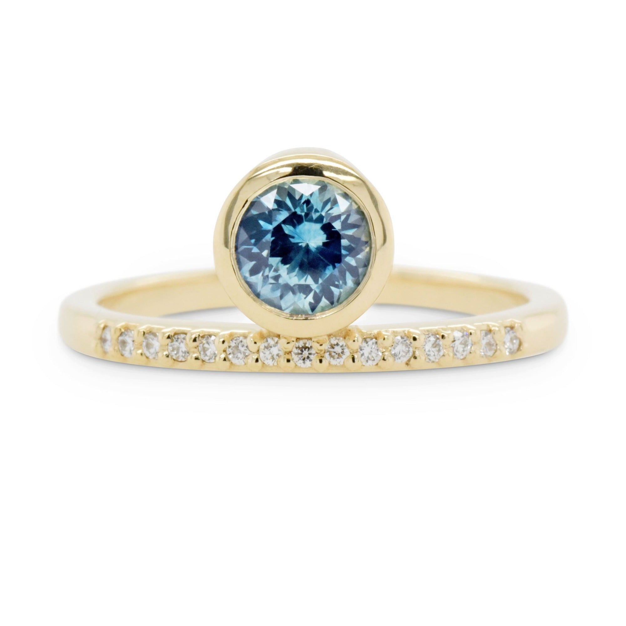 Juno Teal Sapphire Engagement Ring
