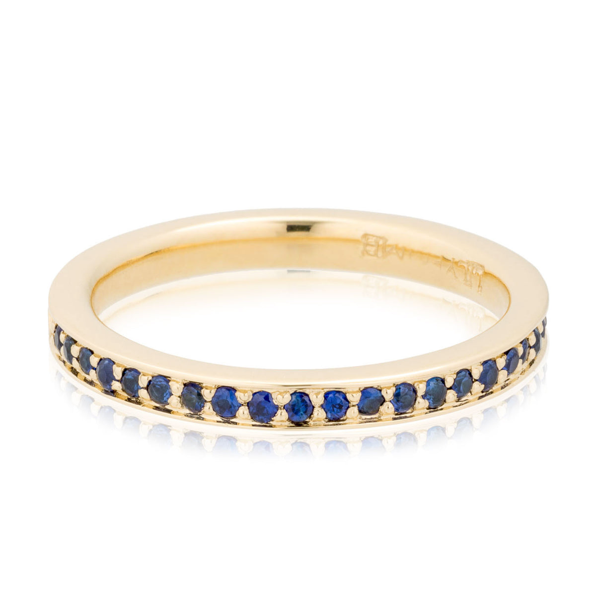 Size 5.75 - 14K Yellow Gold Blue Sapphire Pavé Wedding Band