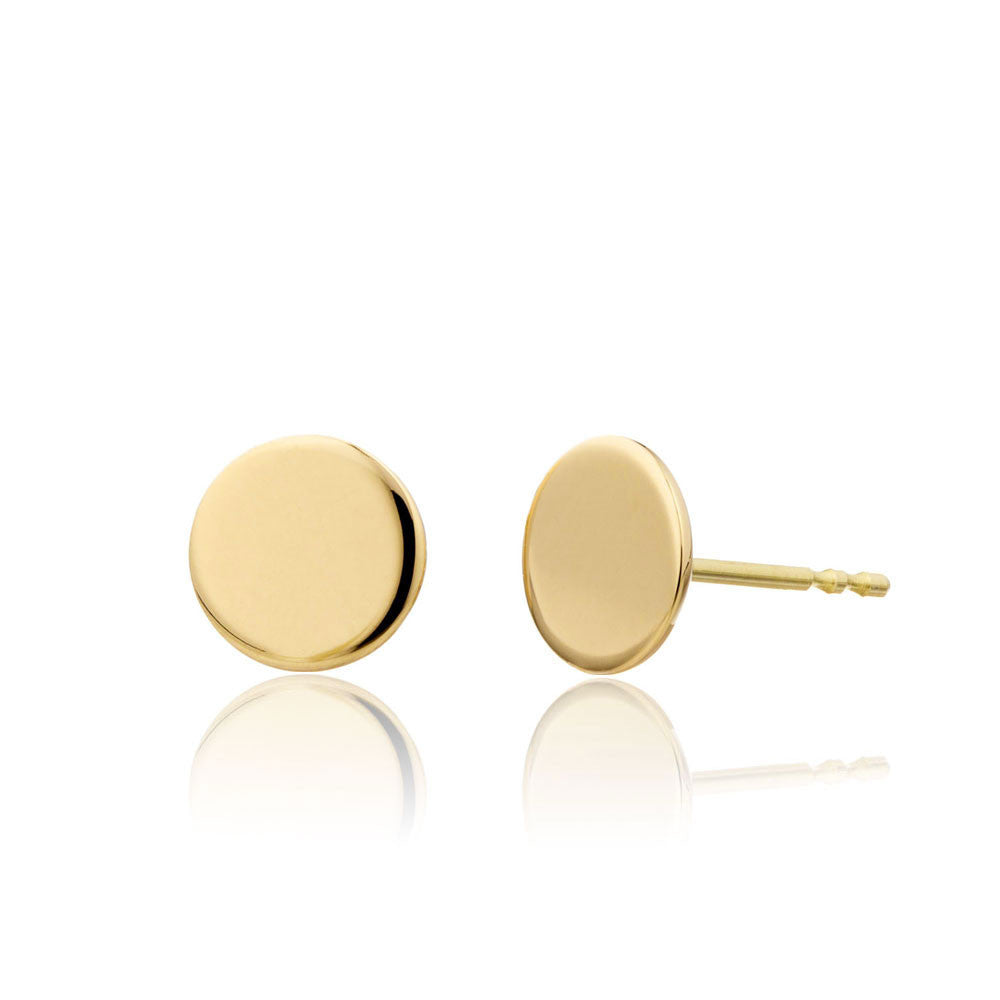 14K Yellow Gold Circle Studs by Valerie Madison Jewelry