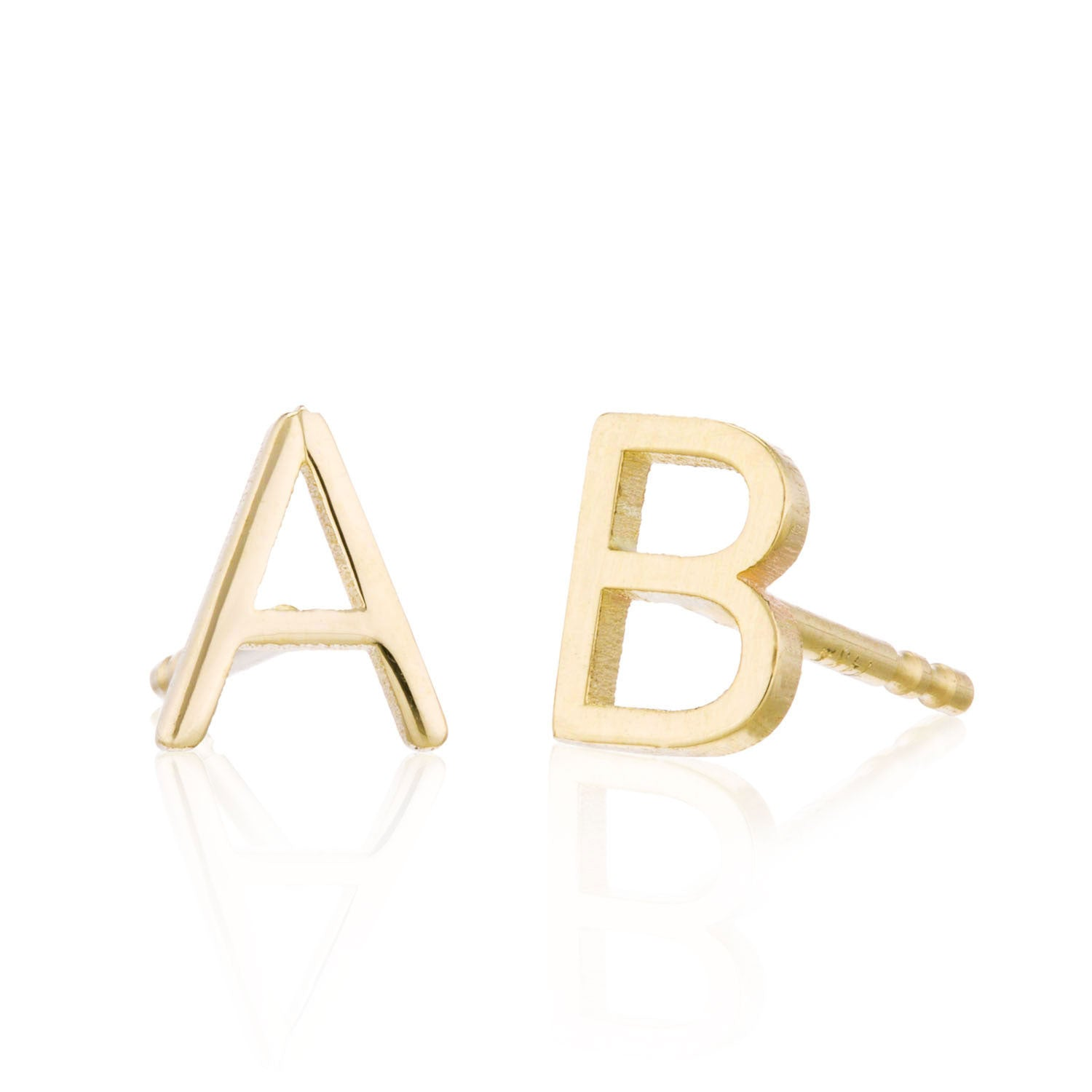 Alphabet letter initials 14K Yellow gold stud earrings at Valerie Madison Jewelry