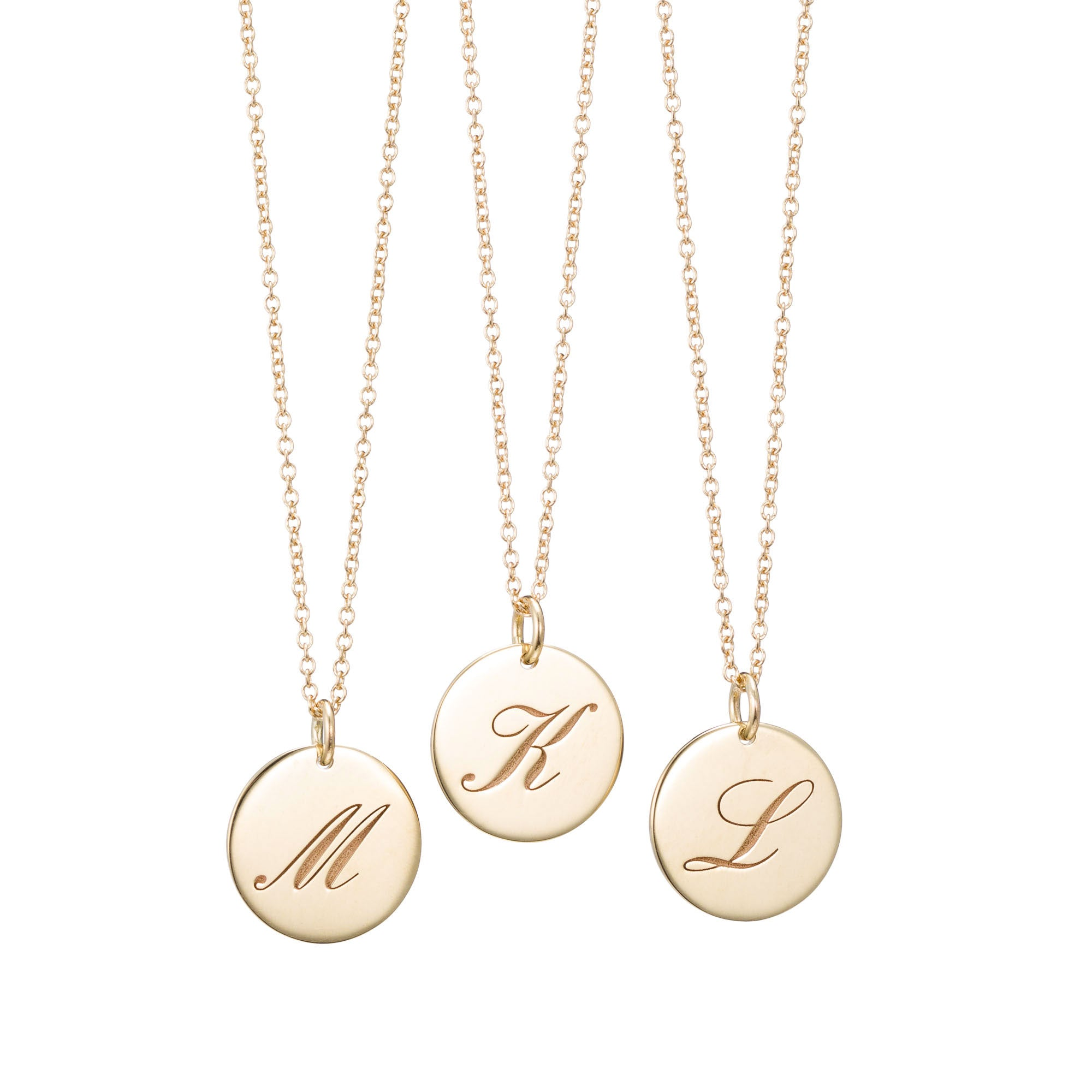 Large 14K Gold Initial Necklace (available with or without chain)