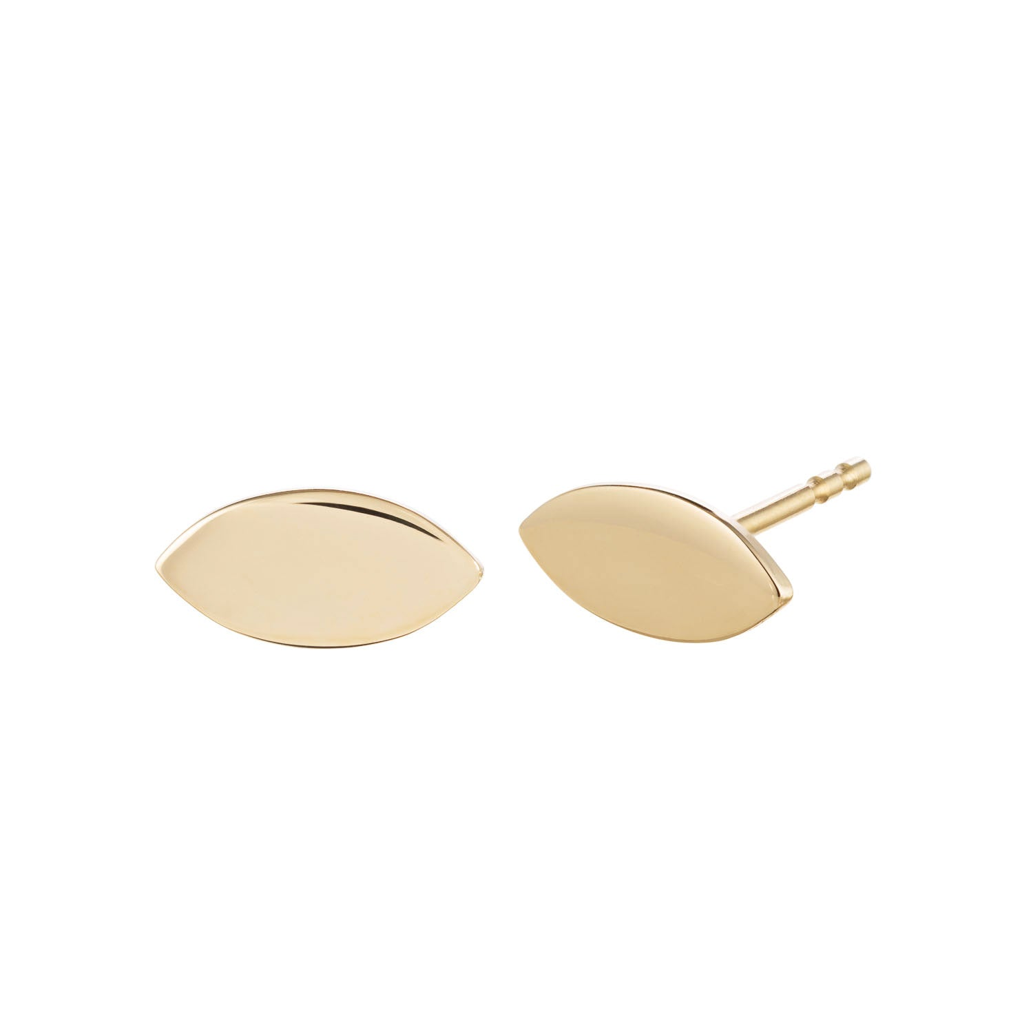 14k Yellow gold leaf shaped stud earrings by Valerie Madison