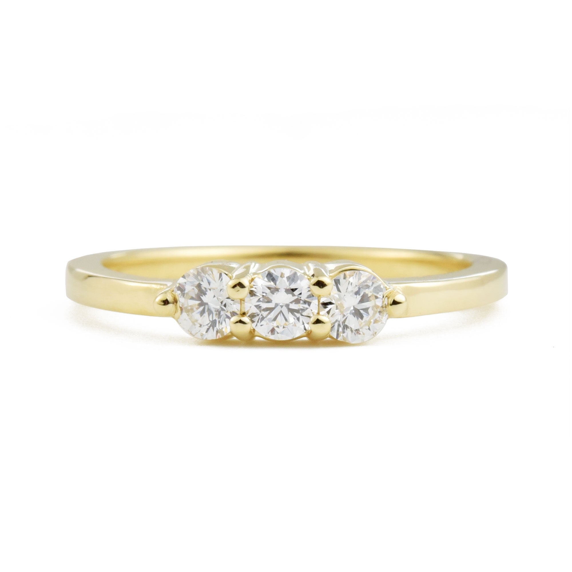 Lily Three Stone Diamond Ring in yellow gold
