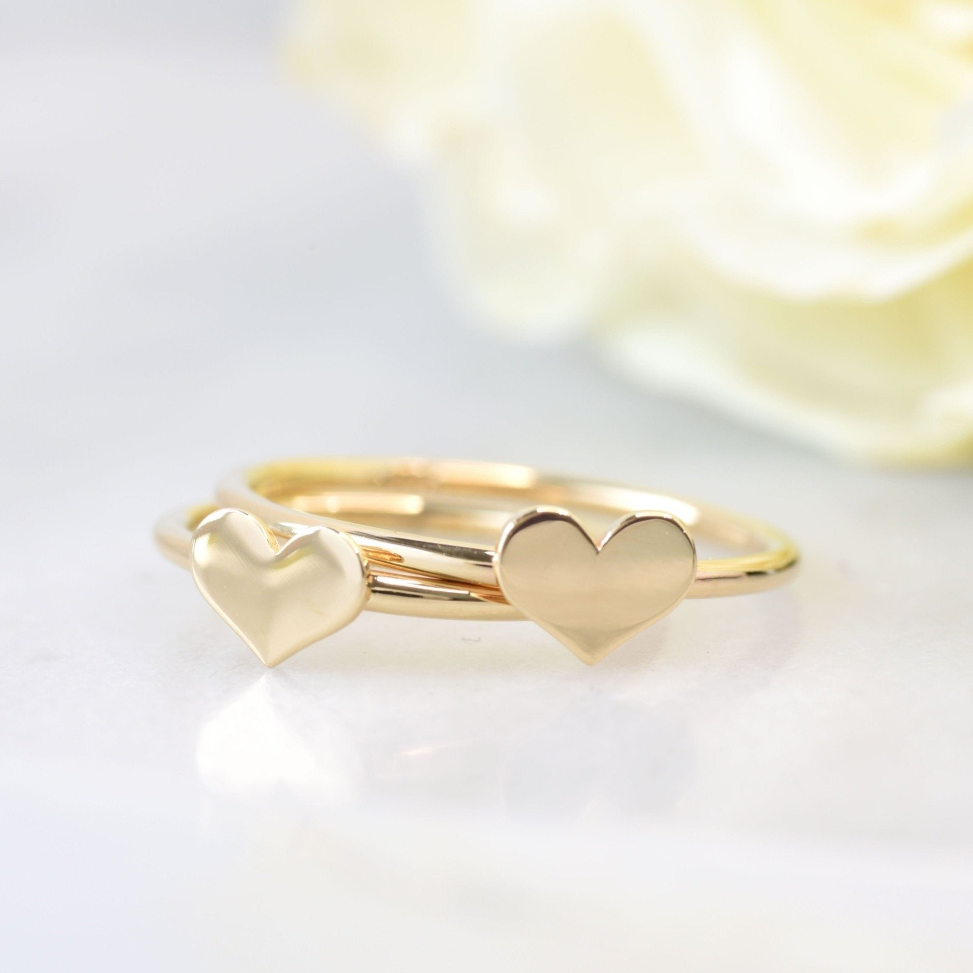 14K Gold Little Heart Stacking Ring