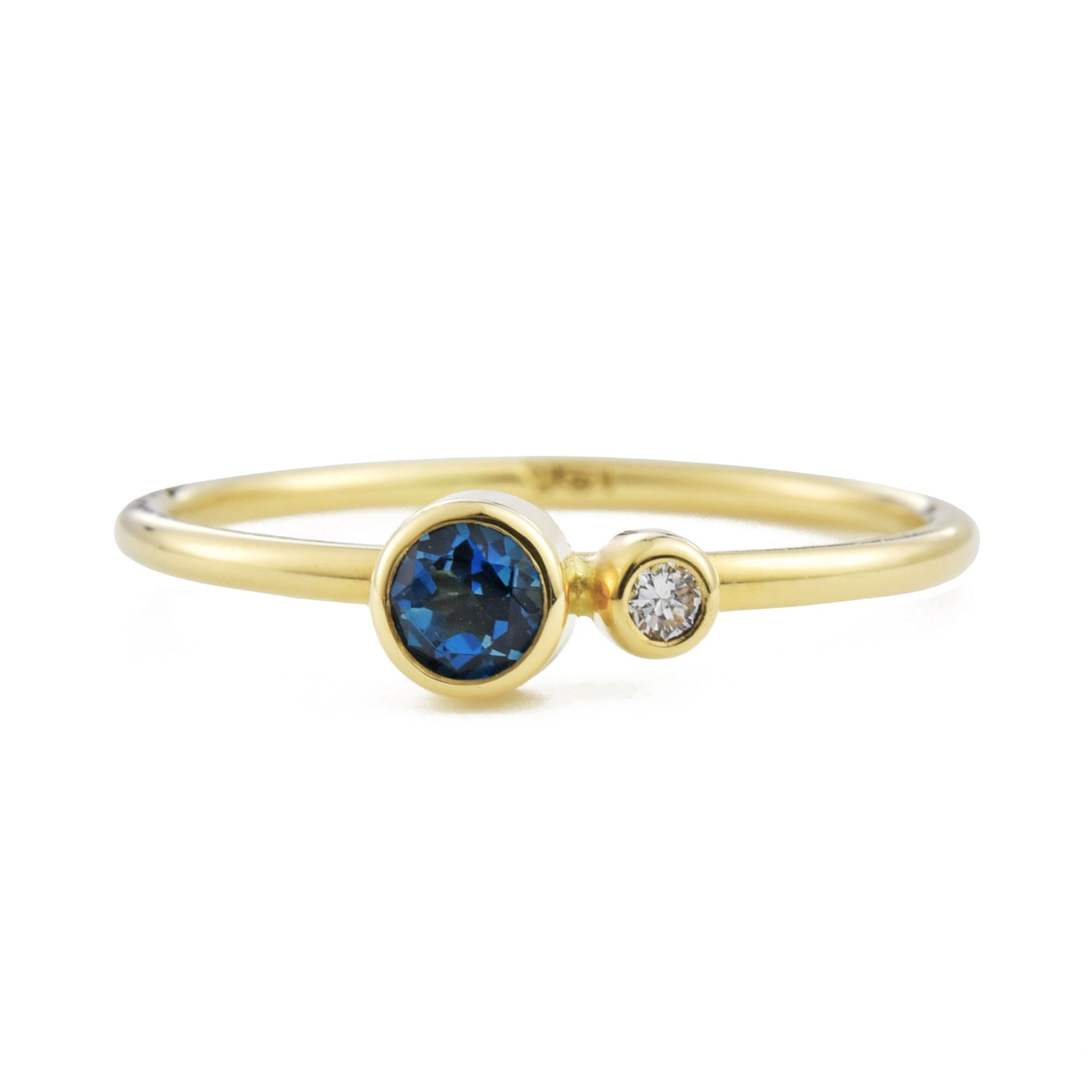 London Blue Topaz Diamond Kiss Ring - November Birthstone