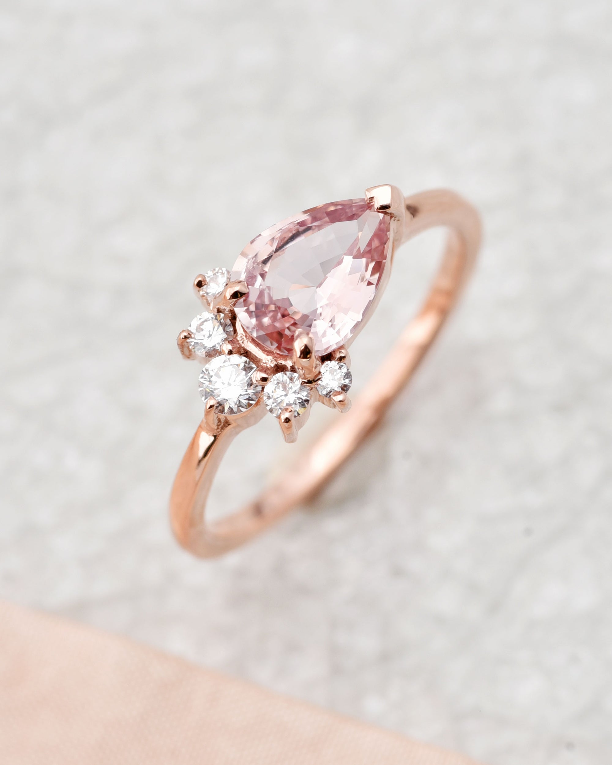 1ct Luna Pear Pink Peach Sapphire and Diamond Engagement Ring