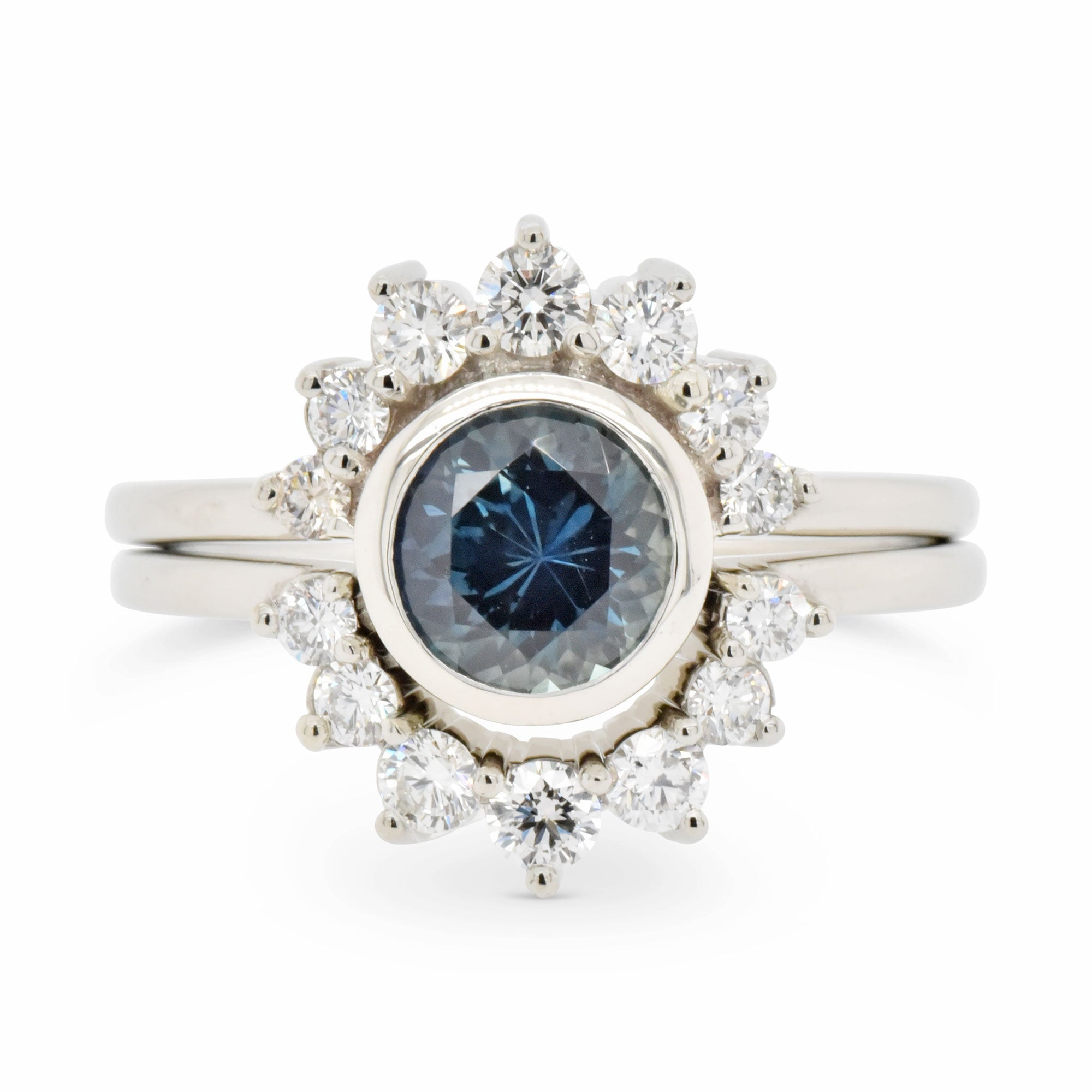 1.26ct Luna Blue Sapphire and Diamond Engagement Ring Set (Size 6)