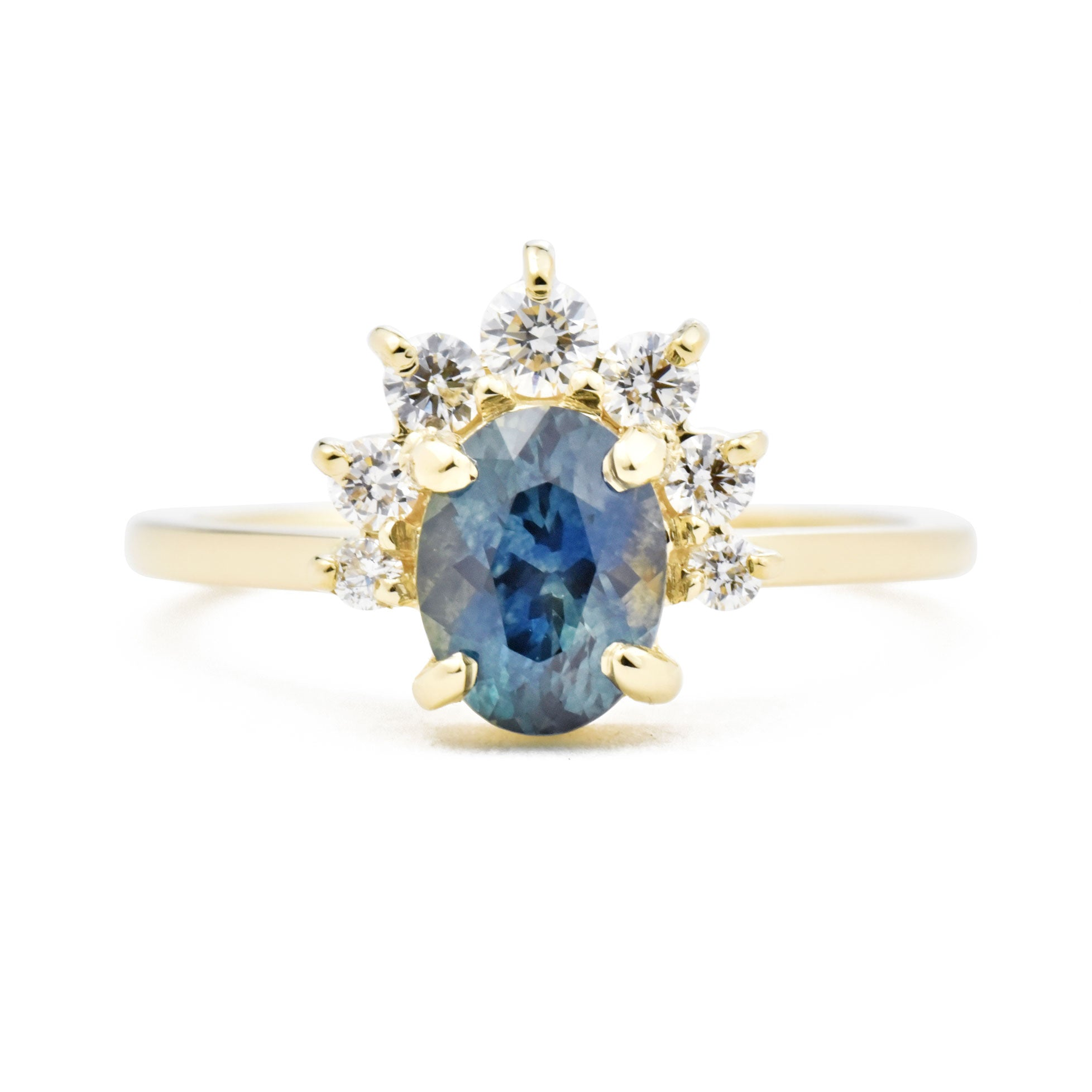 Luna Oval Blue Sapphire and Diamond Engagement Ring