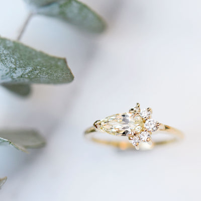 Luna Pear Cluster Diamond Ring