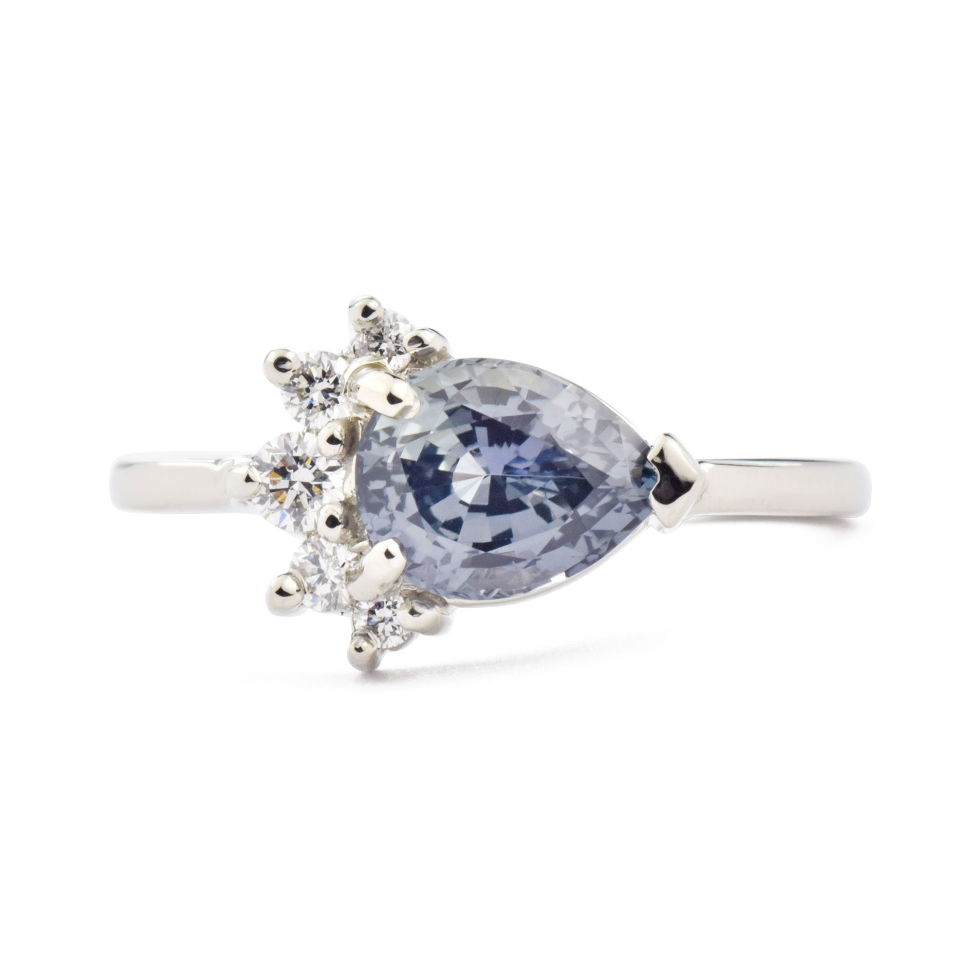1.54ct Luna Blue Sapphire Pear and Diamond Engagement Ring shown from the front