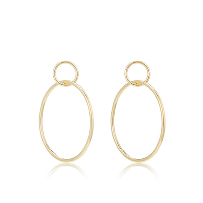 14K Gold Medium Double Hoop Earrings