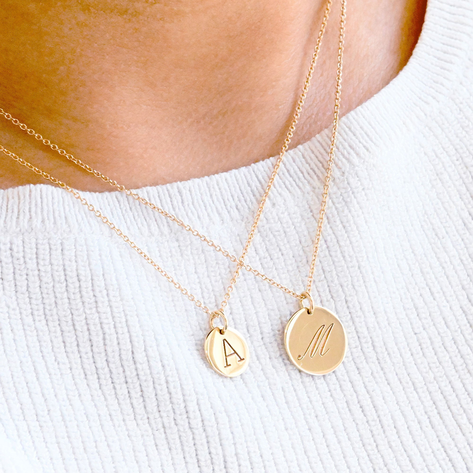 Small 14K Gold Initial Necklace (available with or without a chain)