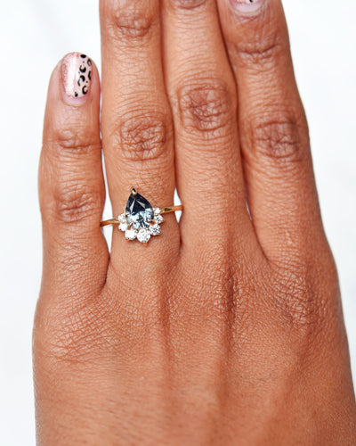 Luna Teal Sapphire Pear Diamond Cluster Engagement Ring