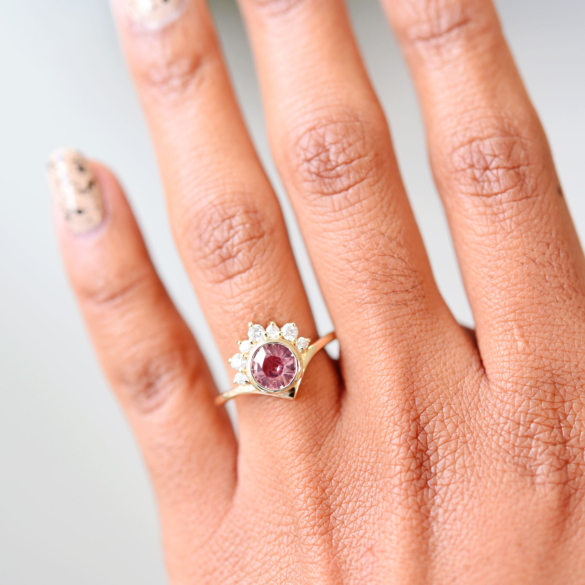 1.28ct Halo SuperNova Peach Sapphire Engagement Ring (size 6.5)