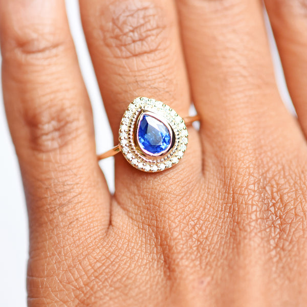 Selena Blue Sapphire Pear and Diamond Halo Engagement Ring