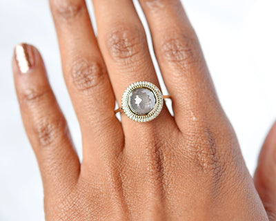 Selena Rose Cut Gray Diamond Halo Ring