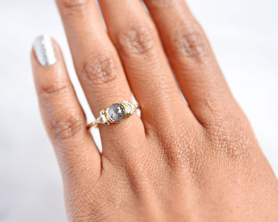 Semi-Bezel Three Stone Salt and Pepper Diamond Engagement Ring