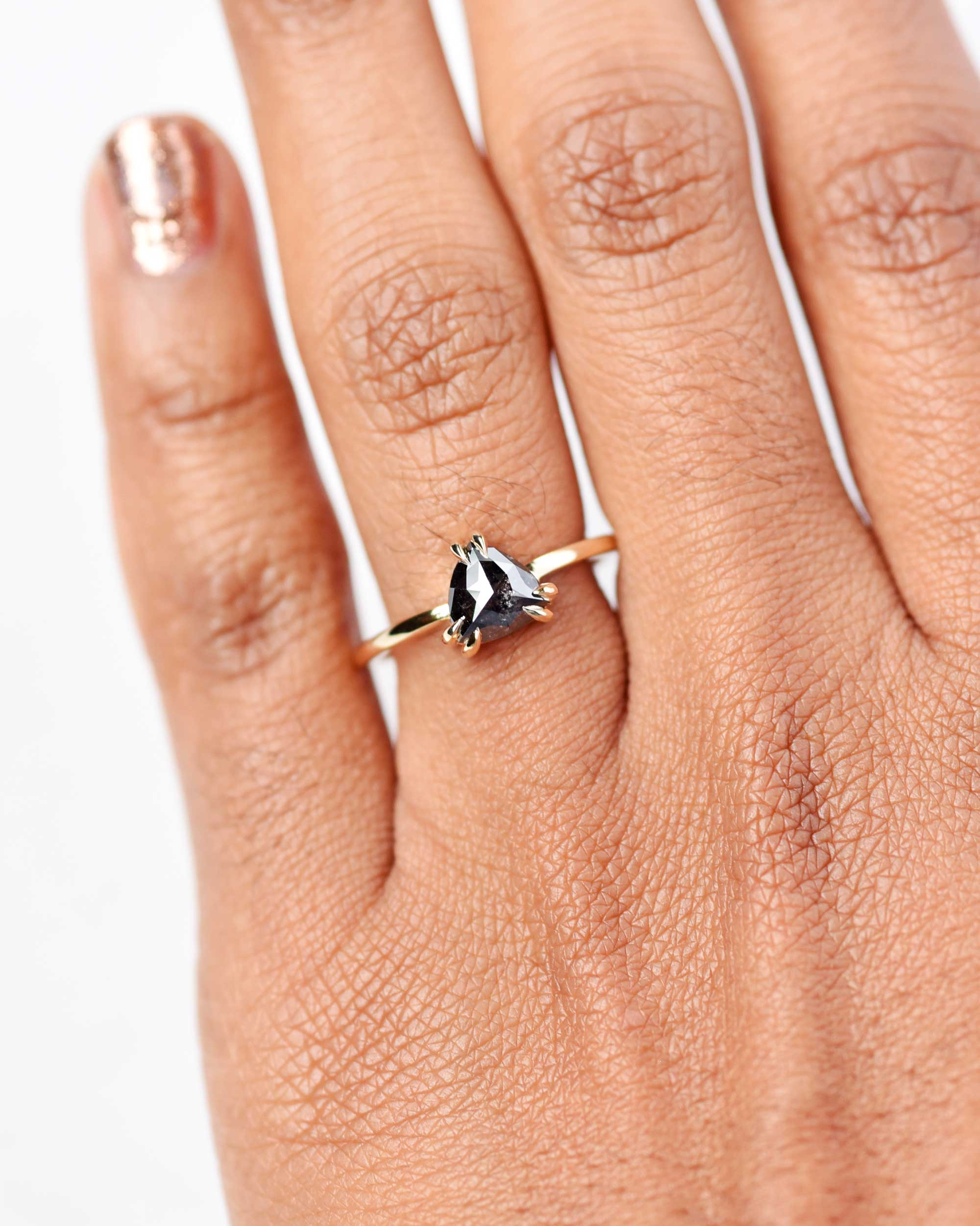 Eva Double Claw Black Trillion Diamond Ring