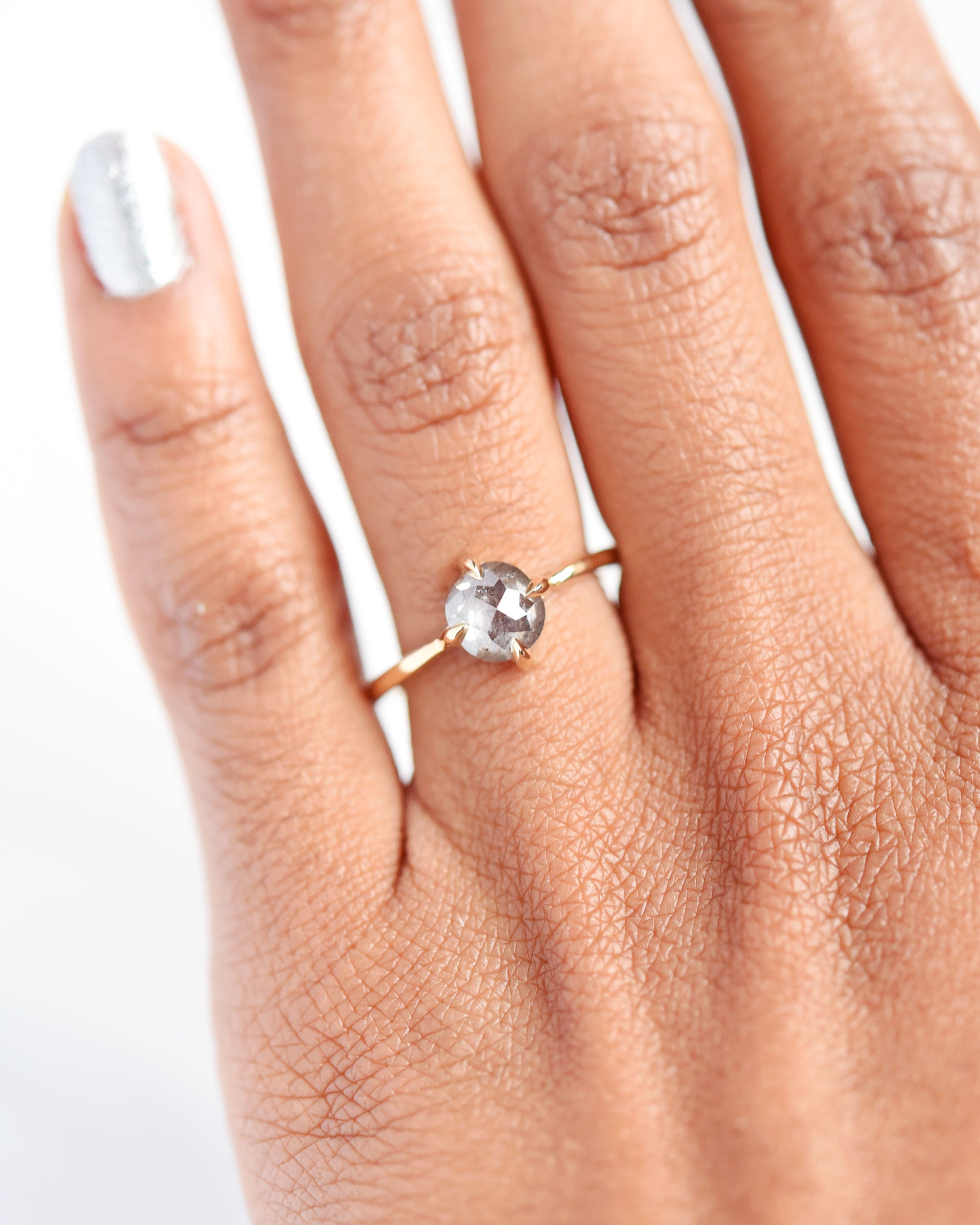 Eva Rose Cut Salt & Pepper Diamond Engagement Ring