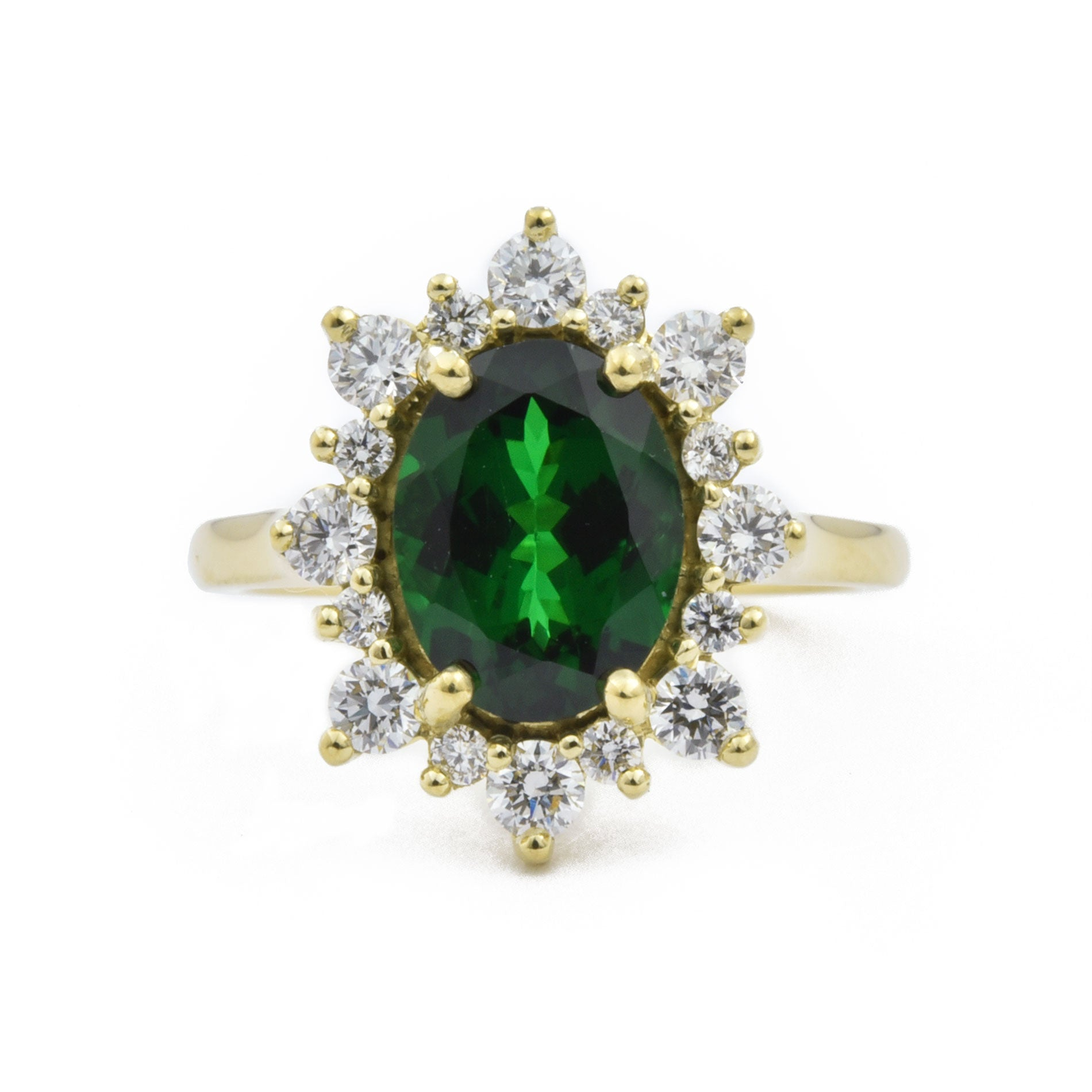 Tsavorite Garnet Canadian Diamond Halo Engagement Ring