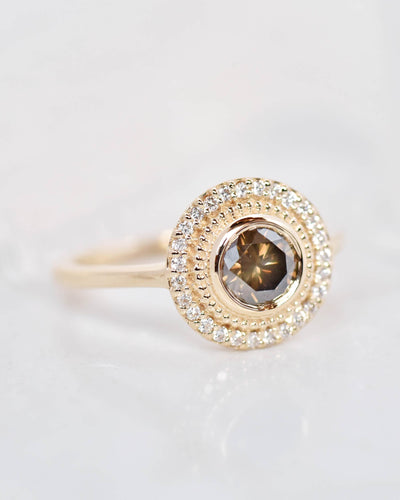 Selena Rose Cut Brown Diamond Halo Engagement Ring