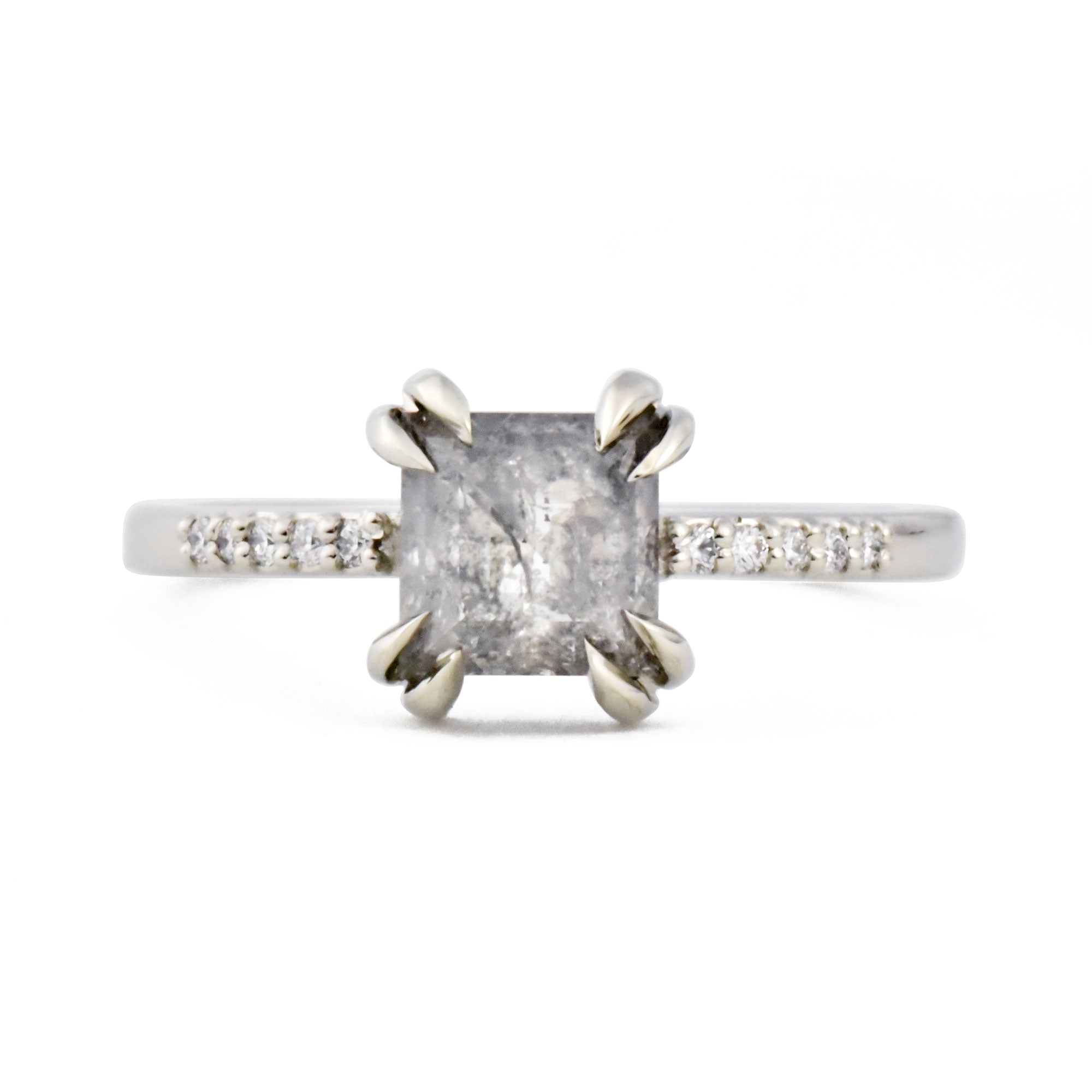 0.92ct Eva Double Claw Rose Cut Salt & Pepper Diamond & Pavé Diamond Engagement Ring (Size 5.5)