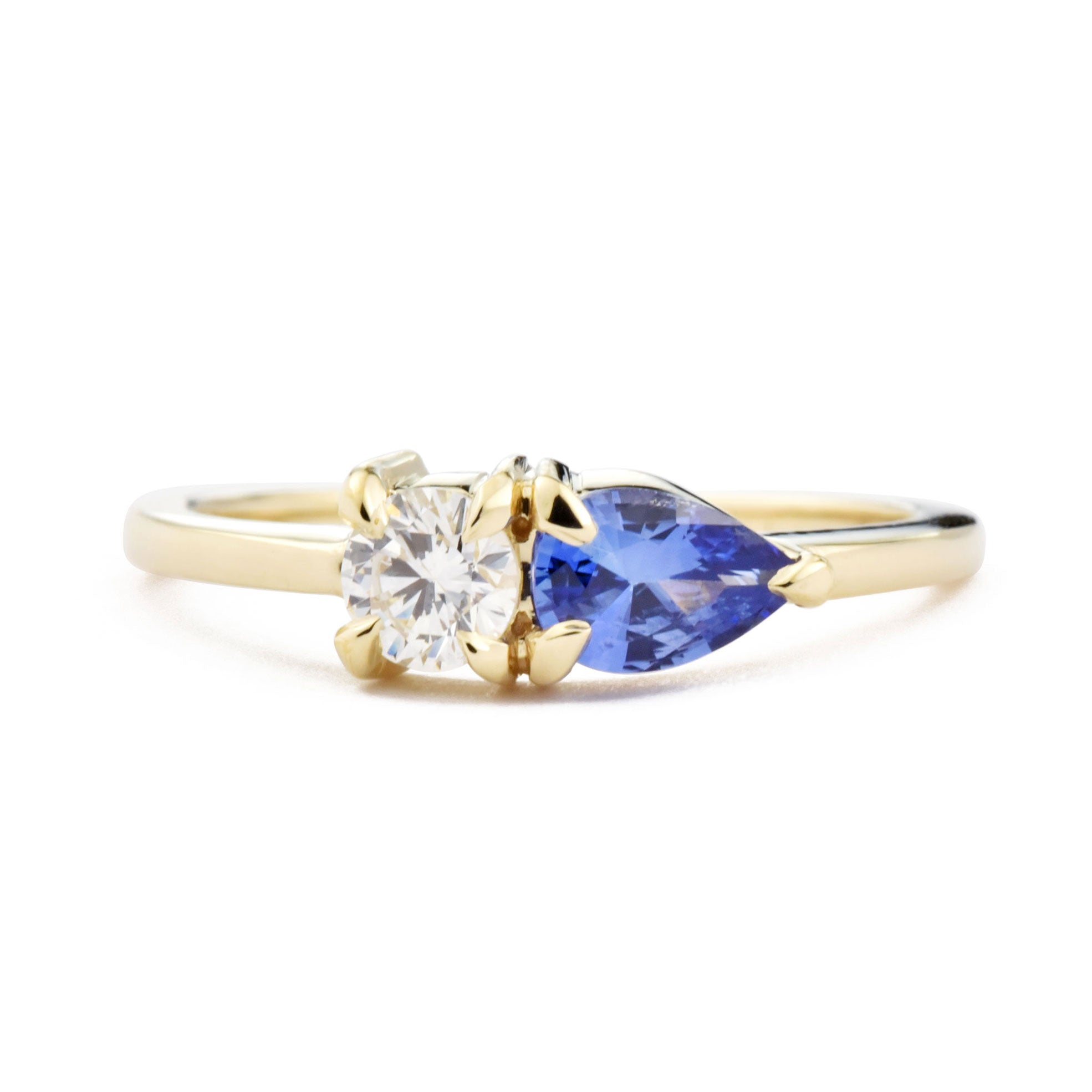 0.68ct Gemma Blue Sapphire and Diamond Ring shown from the front
