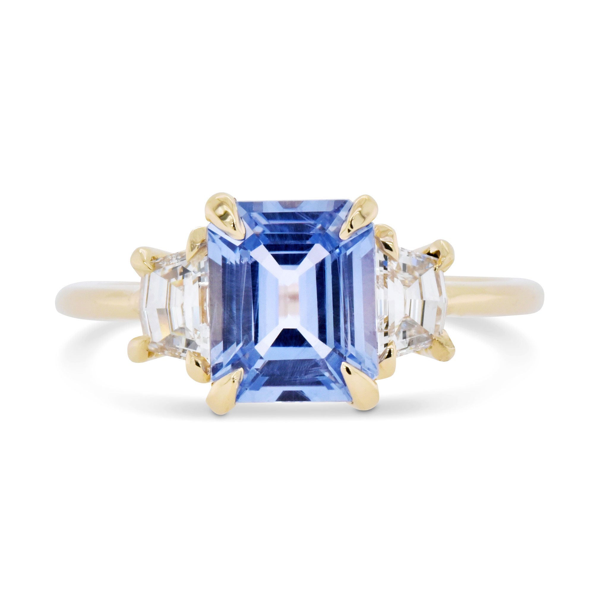 1.82ct Zara Three-Stone Light Blue Sapphire & Cadillac Diamond Engagement Ring (Size 6.5)