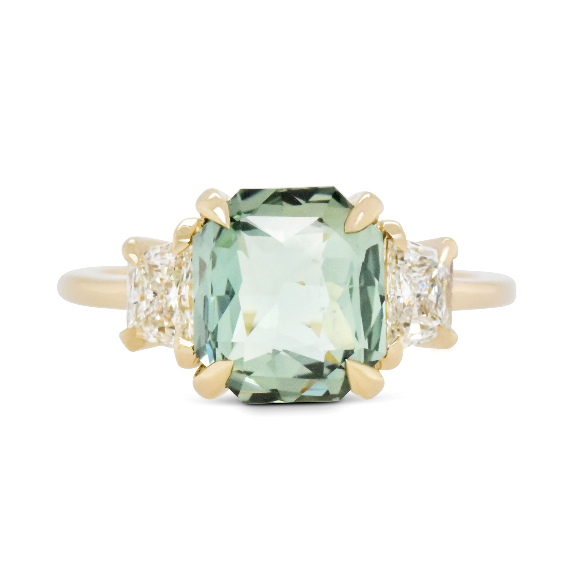 3.11ct Zara Three-Stone Light Green Sapphire & Trapezoid Diamond Engagement Ring (Size 6)