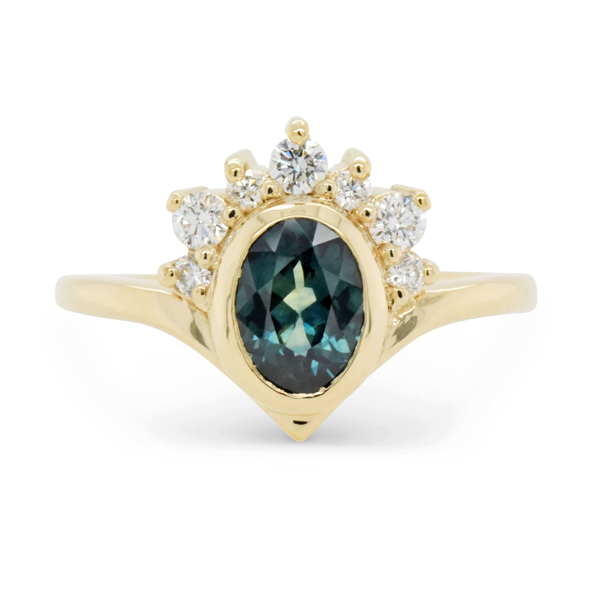 0.84ct Halo Super Nova Teal Sapphire Engagement Ring (Size 6)