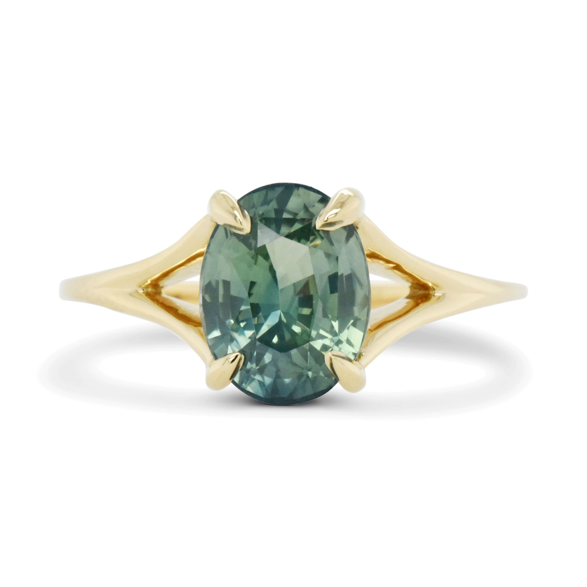 2.51ct Stella Green Oval Sapphire Engagement Ring (Size 6)