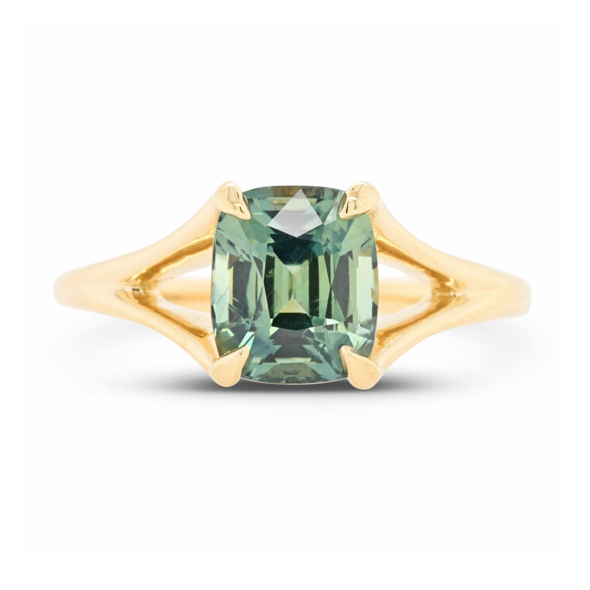 2.21ct Stella Moss Green Cushion Sapphire Engagement Ring (Size 6)