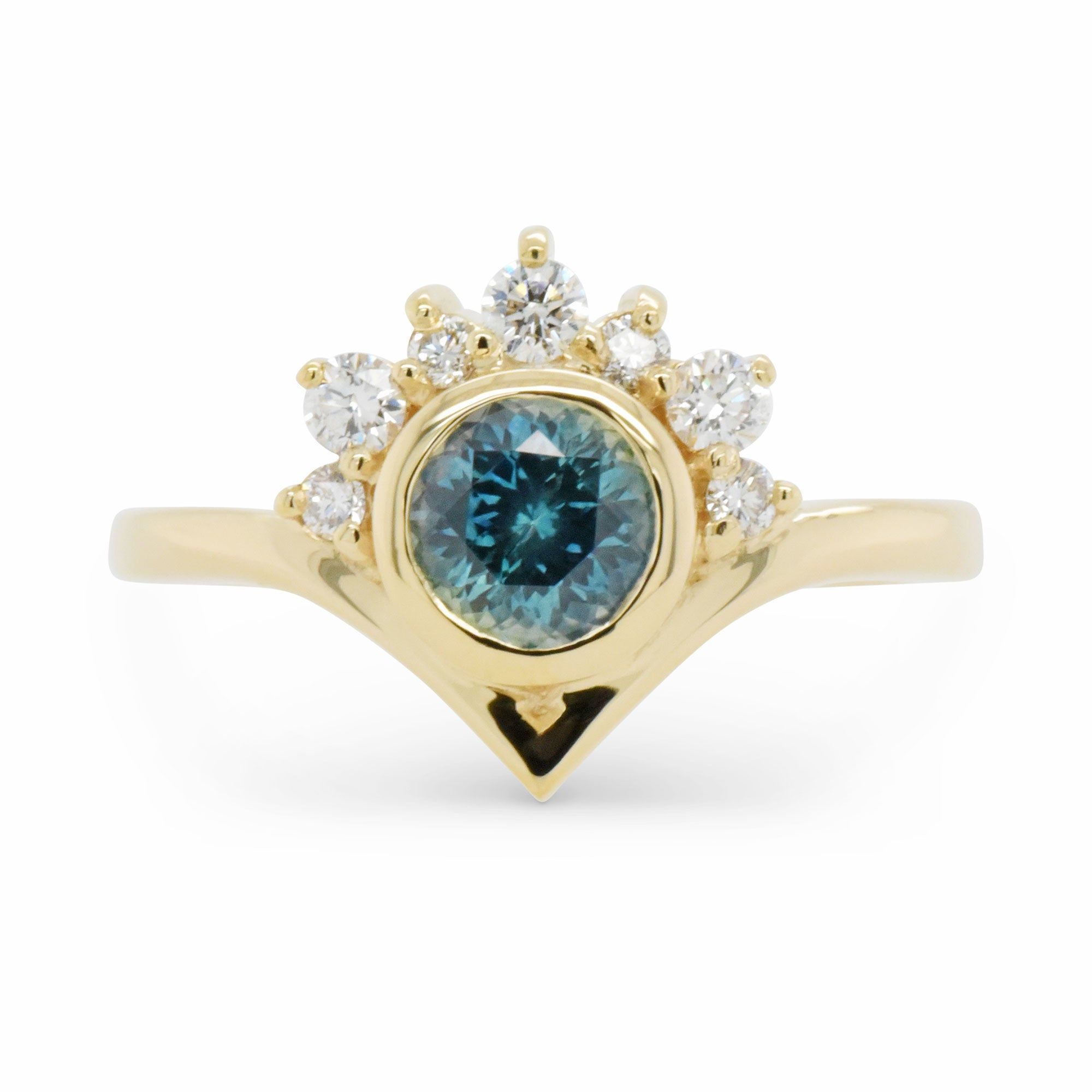 0.84ct Halo Super Nova Teal Montana Sapphire Engagement Ring (Size 6)