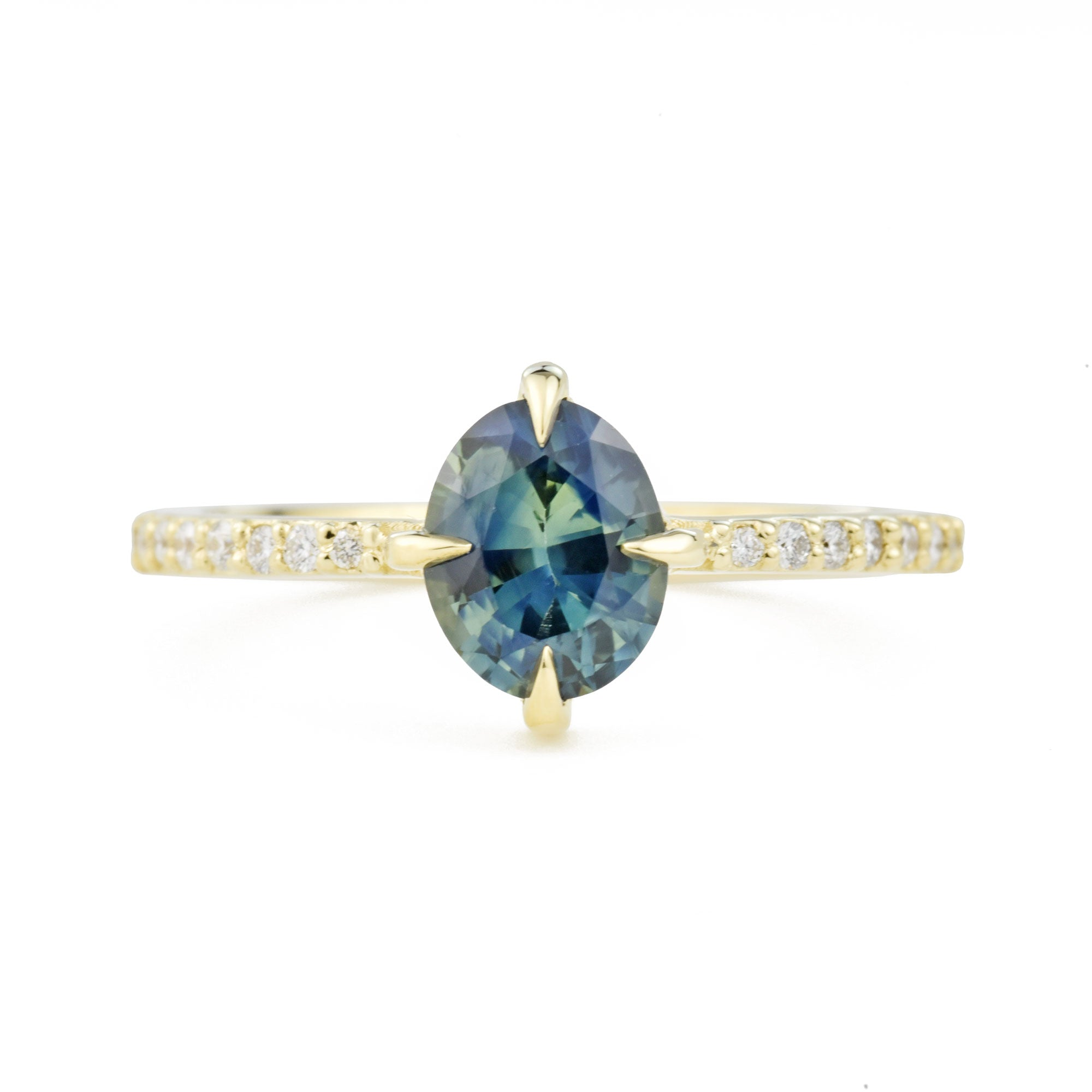 Aria Teal Oval Sapphire Diamond Engagement Ring
