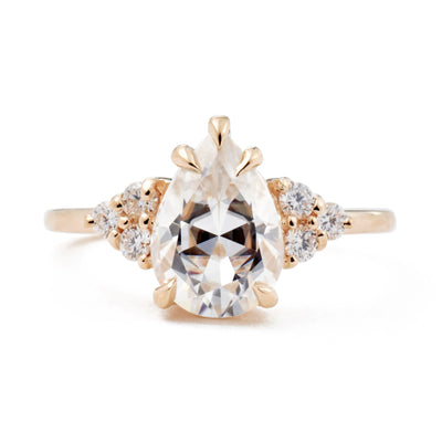 2.1ct Bella Pear Moissanite & Diamond Cluster Engagement Ring in rose gold