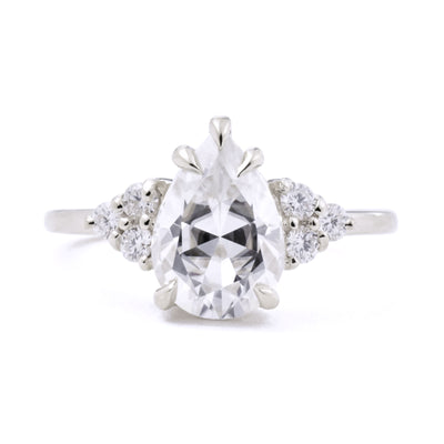 2.1ct Bella Pear Moissanite & Diamond Cluster Engagement Ring in white gold