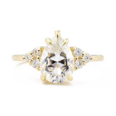 2.1ct Bella Pear Moissanite & Diamond Cluster Engagement Ring