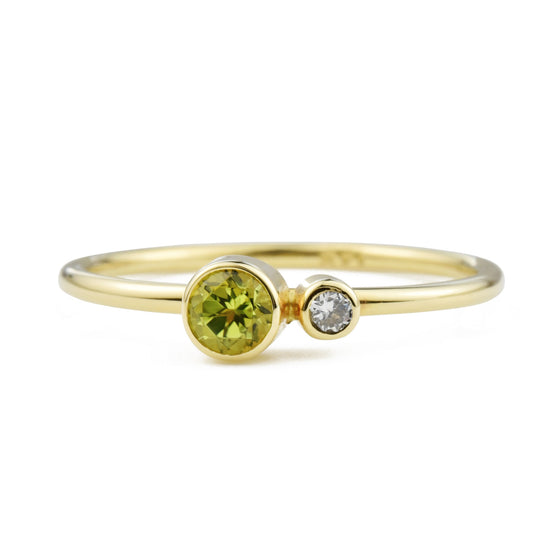 Peridot Diamond Kiss Ring - August Birthstone