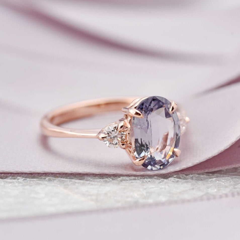 1.97ct Zara Three-Stone Lavender Gray Spinel & Diamond Engagement Ring (Size 5.75)