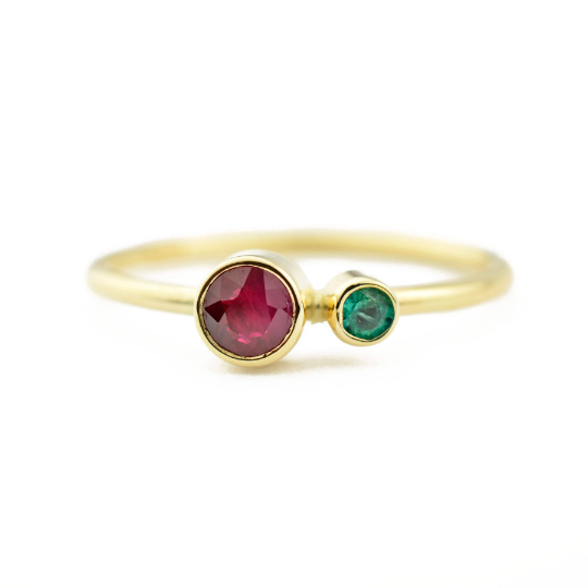 Ruby Emerald Kiss Ring - May and July Birthstone