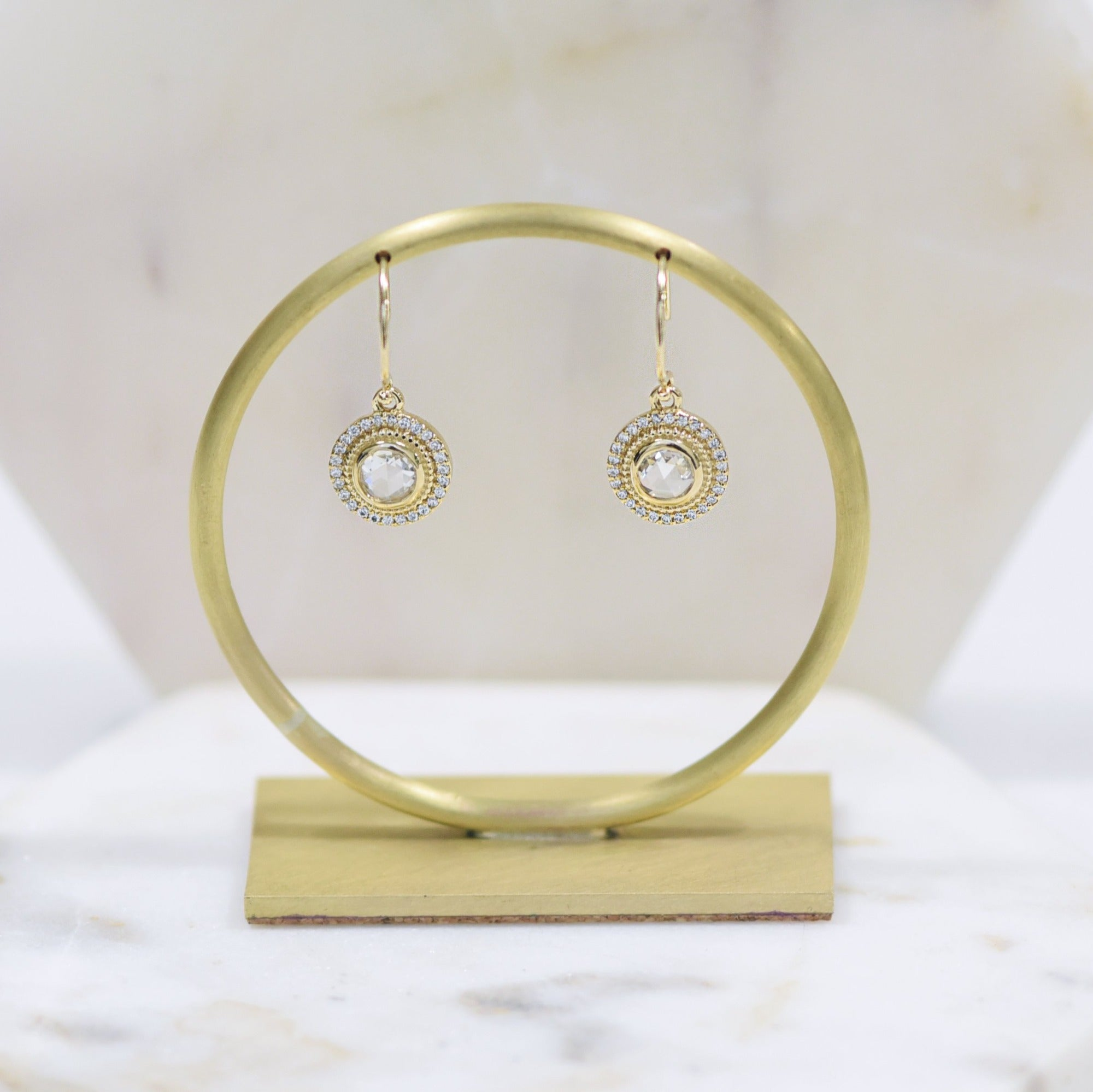 Diamond halo dangle earrings 14k yellow gold Selena by Valerie Madison