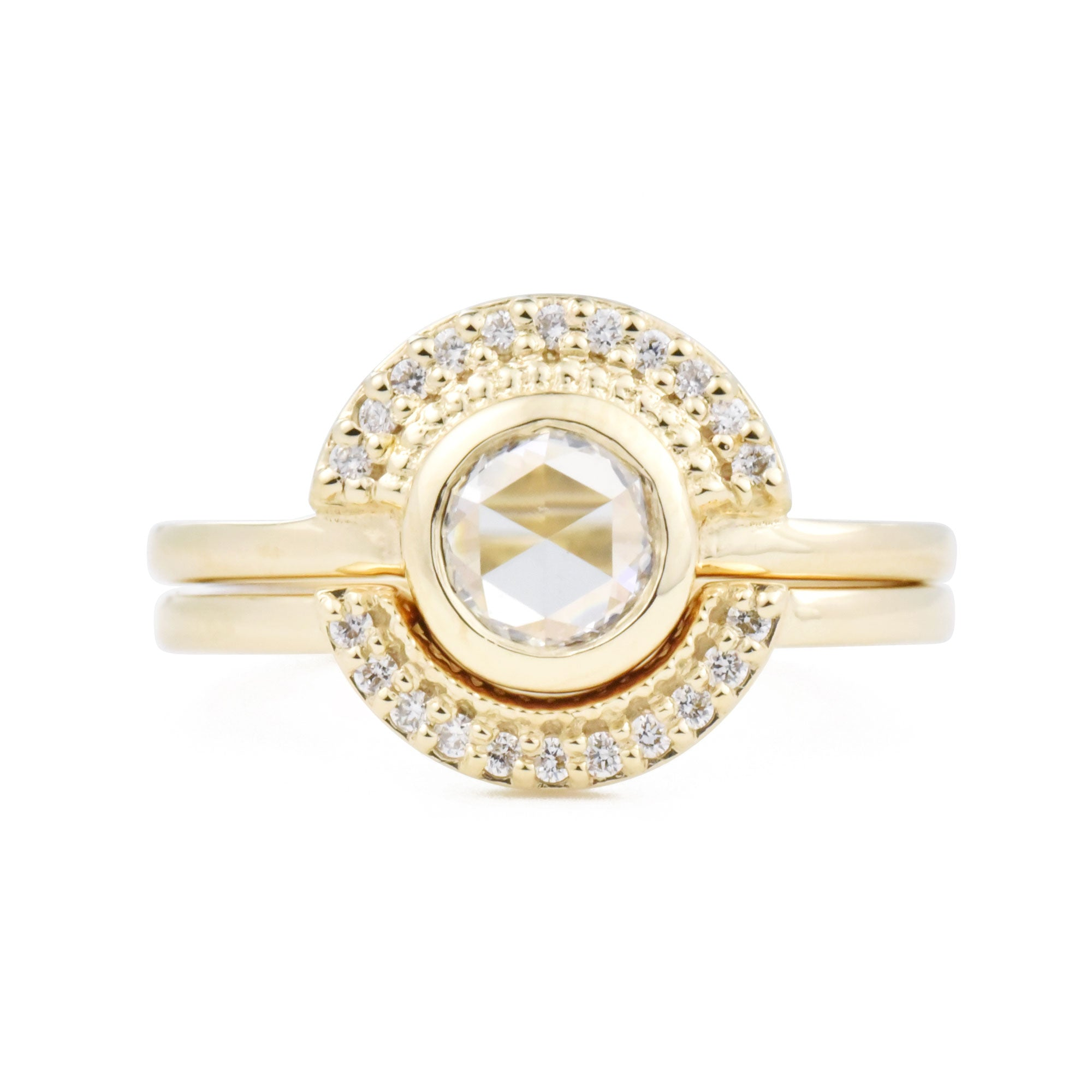 Selena Rose Cut Round Diamond Semi-Halo Ring Set in yellow gold